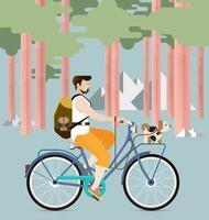Mann, der ein Fahrrad mit Hundevektor reitet vektor