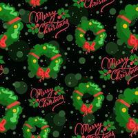 repetitiv grön bakgrund med julkransar och text vektor