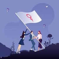 Frauenpower- und Feminismuskonzept, Gruppe von Frauen, die zusammenstehen und die Flagge mit einem Venuszeichen schwenken