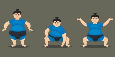 sumobrottare i olika poser.