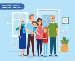 Kampagne zu Hause mit der Familie bleiben vektor