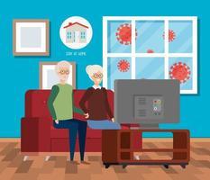 Kampagne zu Hause bleiben mit altem Ehepaar fernsehen vektor