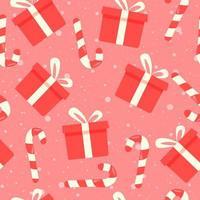 Nahtloses Muster des Winterurlaubs mit Geschenkboxen und Zuckerrohr.