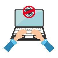 Kampagne von Stop Covid 19 in Laptop-Computer vektor