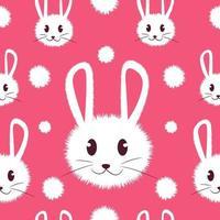 vitt och sött furry kanin sömlöst mönster. vektor