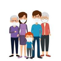 familjemedlemmar som använder ansiktsmask