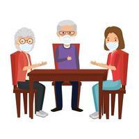 Treffen der Familienmitglieder mit Gesichtsmaske