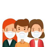 grupp människor med ansiktsmask isolerade ikoner