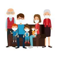 söt familj med ansiktsmask med soffa