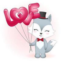 räv som håller kärleksballonger vektor