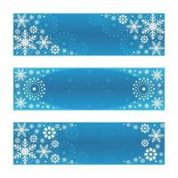 silberne Schneeflocken mit Farbverlauf mit blauem Hintergrundfahnensatz vektor