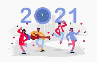 4 Jugendliche tanzen, während sie das neue Jahr herunterzählen vektor