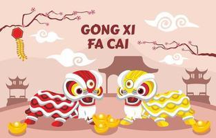 gong xi fa cai olika kinesiska element vektor