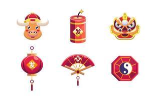 chinesische Neujahrsikonen vektor