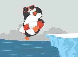 tecknad pingvin hoppar på vattnet vektor
