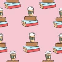 bok med kaffe sömlös bakgrund vektor