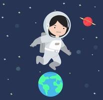 astronautflicka som flyger i rymden vektor