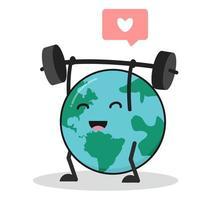 söt tecknad jordklot lyfter vikt