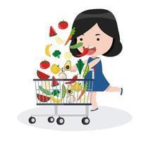Mädchen mit einem Einkaufswagen und Gemüse