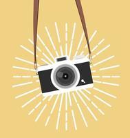 hängande vintage kamera vektor platt stil bakgrund