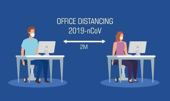 Kampagne der sozialen Distanzierung im Büro für Covid 19 mit Geschäftspaar vektor