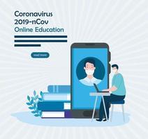 utbildning online-teknik med män och ikoner vektor