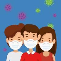 grupp människor som använder ansiktsmask med partiklar 2019 ncov
