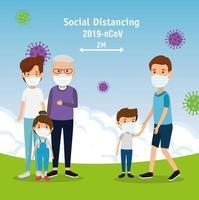 kampanj för social distansering för 2019 ncov med familjer som använder ansiktsmask i landskapet vektor