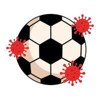 Sportball mit Partikeln covid 19 isolierte Ikone vektor