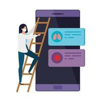 kvinna och smartphone med information covid 19