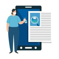 Frau Desinfektionsmittel Smartphone isoliert Symbol vektor