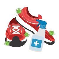 Flaschenspray-Desinfektionsmittel mit Tennis isoliertem Symbol vektor