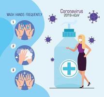 Frau mit Gesichtsmaske mit antibakterieller Flasche und Partikeln 2019 ncov