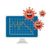 Computer mit Infografik und Cartoon Coronavirus Emoji auf einem weißen Hintergrund