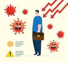 coronavirus 2019 ncov påverkar global ekonomi, covid 19 virus gör ner ekonomi, världsekonomisk påverkan covid 19, man med pilar nedåt
