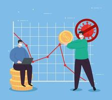 global ekonomisk återhämtning av marknaden efter covid 19, män med affärsikoner