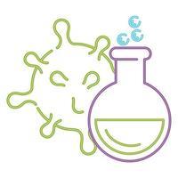 forskning för coronavirus covid 19 i medicinska rörtest, linjestil vektor
