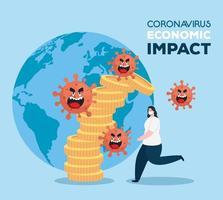 coronavirus 2019 ncov påverkar global ekonomi, covid 19 virus gör ner ekonomi, världsekonomisk påverkan covid 19, kvinna med stackmynt faller
