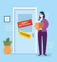 ingen vakans, ledsen, arbetslöshet coronavirus covid 19, global kris, kvinna och låda med objekt kontor