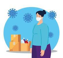 kvinna som använder medicinsk skyddsmask mot covid 19 med lådapaket och påsevaror