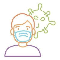 man använder skyddande kirurgisk mask för förebyggande av covid 19