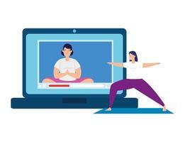 bärbar dator med applikationsyoga online, hälsosam livsstil