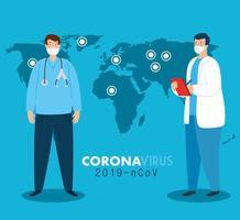 Ärzte auf der ganzen Welt tragen eine Gesichtsmaske, die für das Coronavirus kämpft, Covid 19 auf der Weltkarte vektor