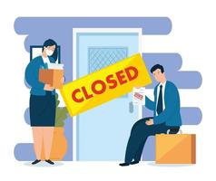 Coronavirus, Arbeitslosigkeit, Arbeitslose ab Covid 19, Firma geschlossen und Geschäft geschlossen, Geschäftsleute, Tür geschlossen Firma vektor