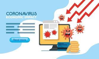 coronavirus 2019 ncov Auswirkungen auf die Weltwirtschaft, covid 19 Virus machen die Wirtschaft herunter, weltwirtschaftliche Auswirkungen covid 19, Computer mit Symbolen vektor
