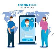 medicin online, läkare konsulterar patienterna i smartphone online, covid 19 pandemi vektor