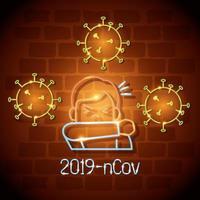 neonljus symbol covid 19 coronavirus, man hostar vid armbågen, farligt pandemi coronavirus utbrott neonljus glödande
