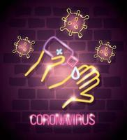 neonljus symbol covid 19 coronavirus, hand med desinfektionsmedel, farligt pandemi coronavirus utbrott neonljus glödande