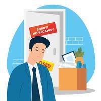 Keine freie Stelle, sorry, Arbeitslosigkeit Coronavirus Covid 19, globale Krise, Mann weinen und Box mit Objekten Büro vektor