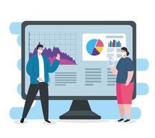 globale finanzielle Erholung des Marktes nach Covid 19, gepaart mit Computer- und Geschäftsgrafiken vektor